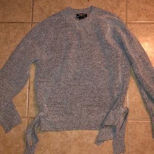 Tied Sides Grey Knit Sweater